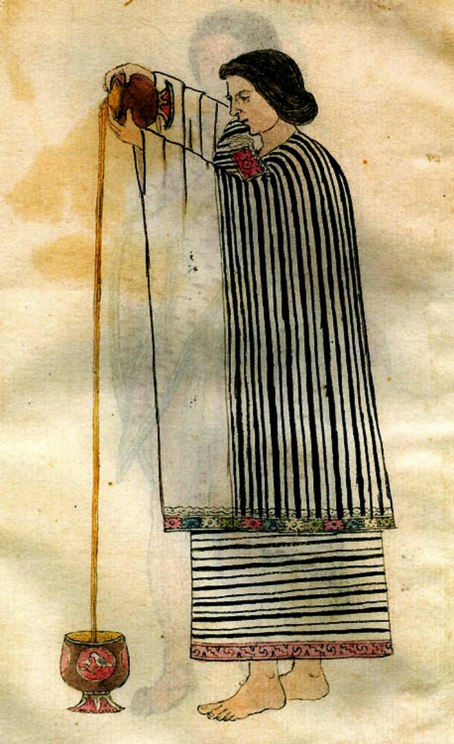 Mujer azteca preparando bebida de cacao